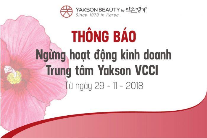 THÔNG BÁO NGỪNG HOẠT ĐỘNG KINH DOANH TRUNG TÂM YAKSON VCCI